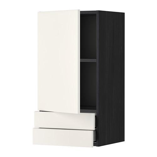 МЕТОД / МАКСИМЕРА Навесной шкаф с дверцей/2 ящика - 40x80 см, Веддинге белый, под дерево черный
