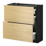 METHOD / FORVARA Nap cabinet 2 FRNT PNL / 1nizk / 2sr drawers - wood black, Tingsrid birch, 80x37 cm