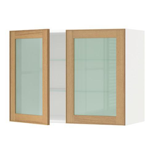 МЕТОД Навесной шкаф с полками/2 стекл дв - 80x60 см, Экестад дуб, белый