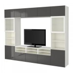 БЕСТО Шкаф для ТВ, комбин/стеклян дверцы - белый/Сельсвикен глянцевый/серый матовое стекло, направляющие ящика,нажимные