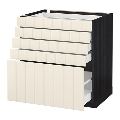 МЕТОД / МАКСИМЕРА Напольный шкаф с 5 ящиками - 80x60 см, Хитарп белый с оттенком, под дерево черный