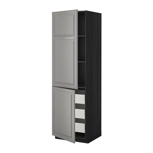 МЕТОД / МАКСИМЕРА Высокий шкаф+полки/3 ящика/2 дверцы - 60x60x200 см, Будбин серый, под дерево черный