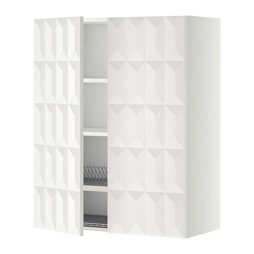 МЕТОД Навесной шкаф с посуд суш/2 дврц - 80x100 см, Гэррестад белый, белый