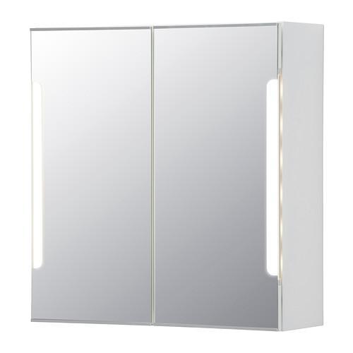 СТОРЙОРМ Зеркальн шкафчик/2дверцы/подсветка - 60x21x64 см