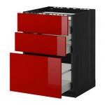 МЕТОД / МАКСИМЕРА Напольн шкаф/3фронт пнл/3ящика - 60x60 см, Рингульт глянцевый красный, под дерево черный
