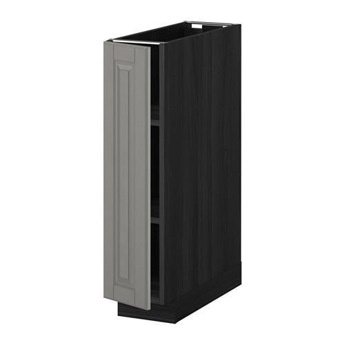 МЕТОД Напольный шкаф с полками - 20x60 см, Будбин серый, под дерево черный