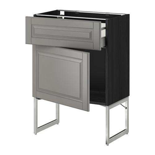 МЕТОД / МАКСИМЕРА Напольный шкаф с ящиком/дверью - 60x37x60 см, Будбин серый, под дерево черный