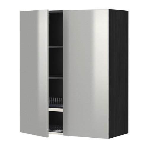 МЕТОД Навесной шкаф с посуд суш/2 дврц - 80x100 см, Гревста нержавеющ сталь, под дерево черный