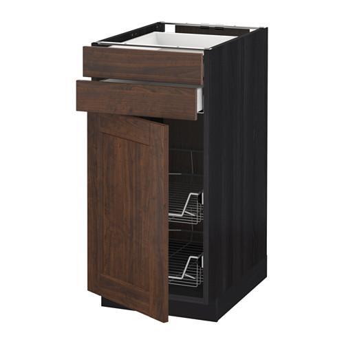МЕТОД / МАКСИМЕРА Напольн шкаф/дверца/2ящ/првл крзн - 40x60 см, Эдсерум под дерево коричневый, под дерево черный