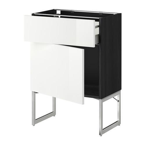 МЕТОД / МАКСИМЕРА Напольный шкаф с ящиком/дверью - 60x37x60 см, Рингульт глянцевый белый, под дерево черный