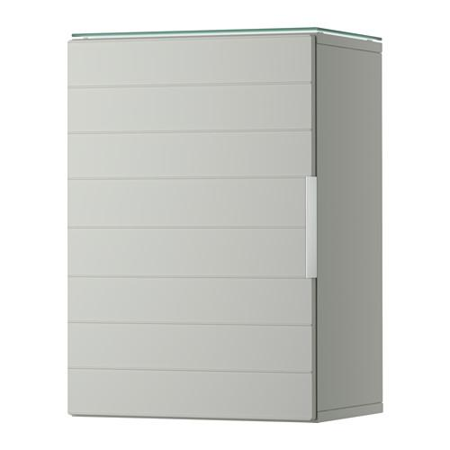 GODMORGON Wall cabinet with 1 door - light gray