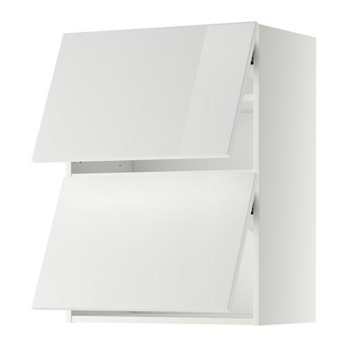 МЕТОД Навесной шкаф/2 дверцы, горизонтал - 60x80 см, Рингульт глянцевый белый, белый