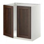 МЕТОД Напольн шкаф д раковины+2 двери - Эдсерум под дерево коричневый, белый