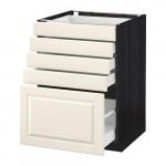 МЕТОД / МАКСИМЕРА Напольный шкаф с 5 ящиками - 60x60 см, Будбин белый с оттенком, под дерево черный