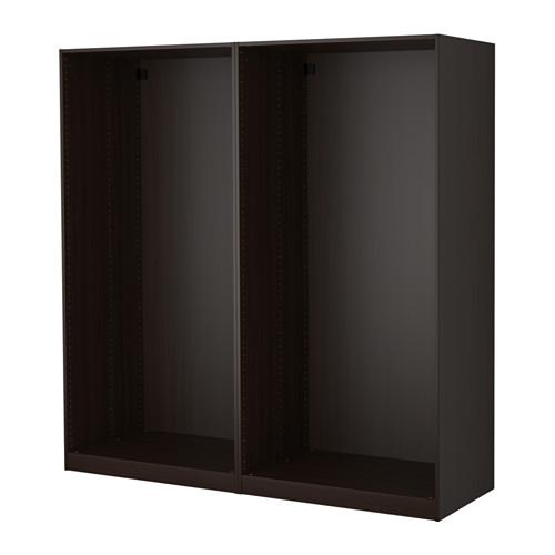 ПАКС 2 каркаса гардеробов - черно-коричневый, 200x58x201 см