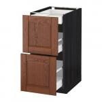 МЕТОД / МАКСИМЕРА Напольный шкаф/2фасада/3ящика - под дерево черный, Филипстад коричневый, 40x60 см