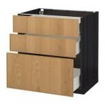 МЕТОД / ФОРВАРА Напольный шкаф с 3 ящиками - 80x60 см, Экестад дуб, под дерево черный