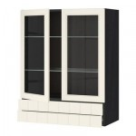МЕТОД / ФОРВАРА Навесной шкаф/2 стек дв/2 ящика - 80x100 см, Хитарп белый с оттенком, под дерево черный
