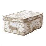 ГАРНИТУР Коробка с крышкой - бежевый/белый цветок, 28x42x16 см