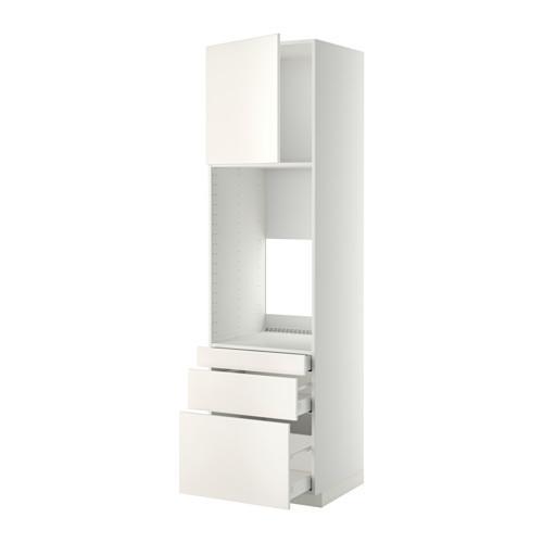 МЕТОД / МАКСИМЕРА Выс шкаф д/двойн духовки/3ящ/дверца - 60x60x220 см, Веддинге белый, белый
