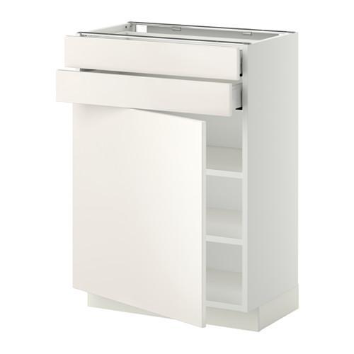 МЕТОД / МАКСИМЕРА Напольный шкаф с дверцей/2 ящиками - 60x37 см, Веддинге белый, белый