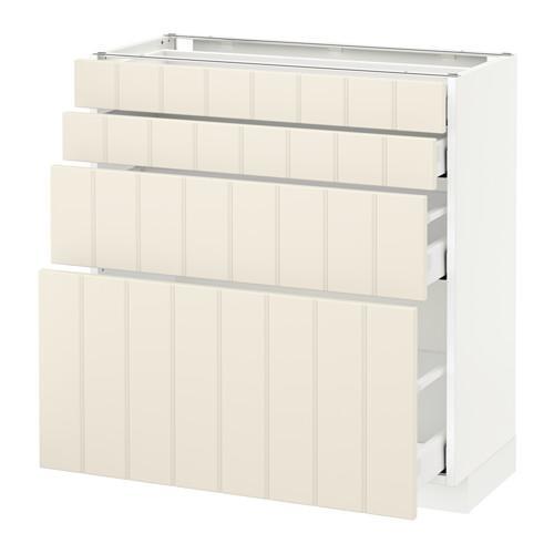 МЕТОД / МАКСИМЕРА Напольн шкаф 4 фронт панели/4 ящика - 80x37 см, Хитарп белый с оттенком, белый
