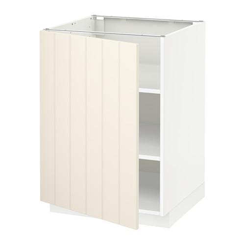 МЕТОД Напольный шкаф с полками - 60x60 см, Хитарп белый с оттенком, белый