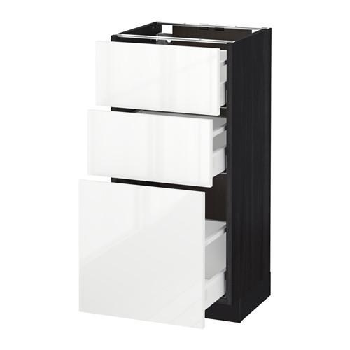 МЕТОД / МАКСИМЕРА Напольный шкаф с 3 ящиками - 40x37 см, Рингульт глянцевый белый, под дерево черный