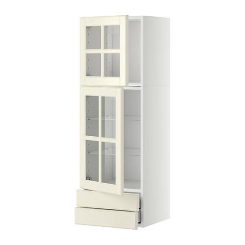МЕТОД / МАКСИМЕРА Навесной шкаф/2 стек дв/2 ящика - 40x120 см, Будбин белый с оттенком, белый