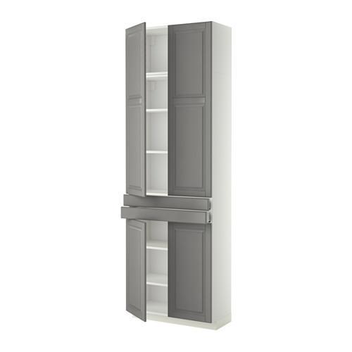 МЕТОД / МАКСИМЕРА Высокий шкаф+полки/2 ящика/4 дверцы - Будбин серый, белый