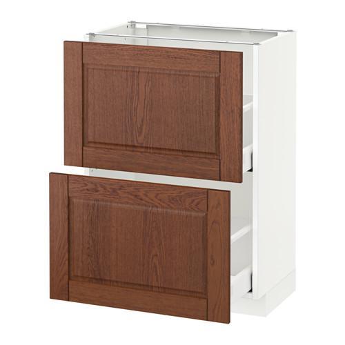 МЕТОД / МАКСИМЕРА Напольный шкаф с 2 ящиками - 60x37 см, Филипстад коричневый, белый