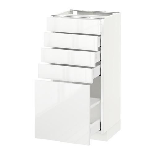МЕТОД / МАКСИМЕРА Напольный шкаф с 5 ящиками - 40x37 см, Рингульт глянцевый белый, белый