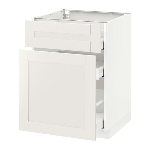 МЕТОД / МАКСИМЕРА Напольн шкаф/выдвижн секц/ящик - 60x60 см, Сэведаль белый, белый