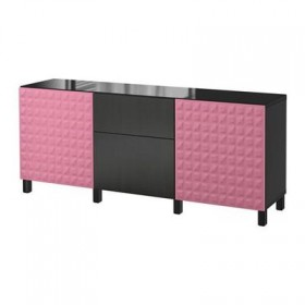 BESTÅ combo for storing with doors / drawers - Dyupviken pink / Lappviken black-brown, box rails, smoothly CLOSE