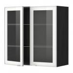 МЕТОД Навесной шкаф с полками/2 стекл дв - 80x80 см, Ютис матовое стекло/алюминий, под дерево черный