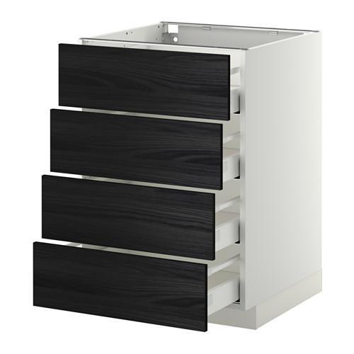 МЕТОД / МАКСИМЕРА Напольн шкаф 4 фронт панели/4 ящика - 60x60 см, Тингсрид под дерево черный, белый