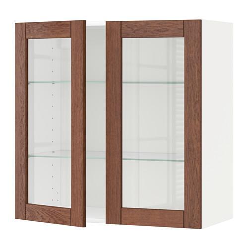 МЕТОД Навесной шкаф с полками/2 стекл дв - 80x80 см, Филипстад коричневый, белый