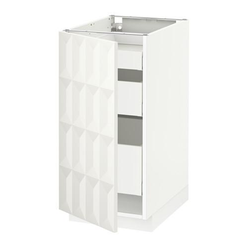МЕТОД / МАКСИМЕРА Напольный шкаф с 1двр/3ящ - 40x60 см, Гэррестад белый, белый