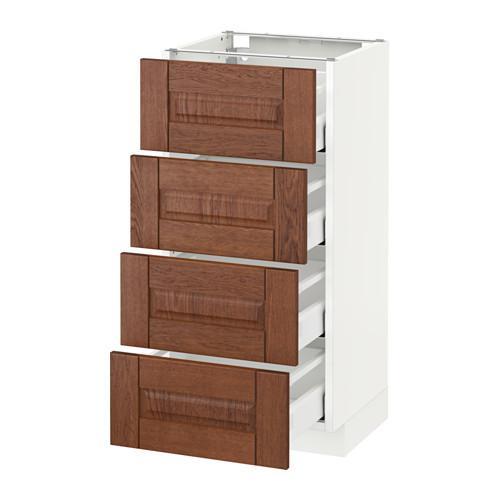 МЕТОД / МАКСИМЕРА Напольн шкаф 4 фронт панели/4 ящика - 40x37 см, Филипстад коричневый, белый