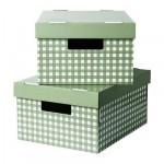 ПИНГЛА Коробка с крышкой - зеленый, 28x37x18 см