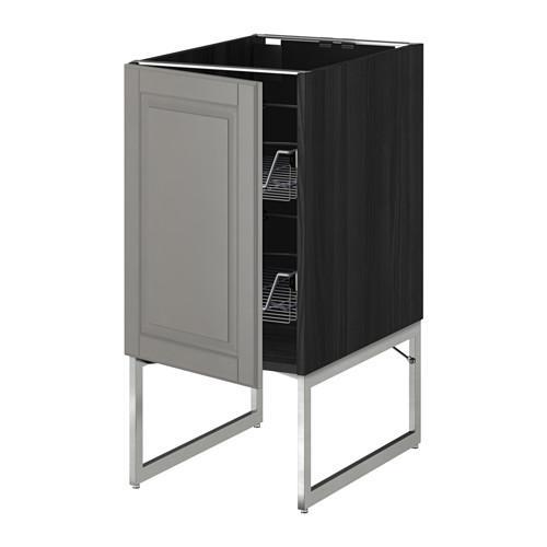 МЕТОД Напольный шкаф с проволочн ящиками - 40x60x60 см, Будбин серый, под дерево черный