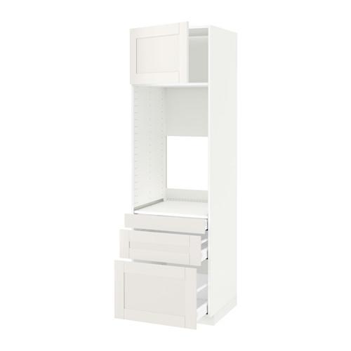 МЕТОД / МАКСИМЕРА Выс шкаф д/двойн духовки/3ящ/дверца - белый, Сэведаль белый, 60x60x200 см
