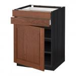 МЕТОД / МАКСИМЕРА Напольный шкаф с дверцей/2 ящиками - 60x60 см, Филипстад коричневый, под дерево черный