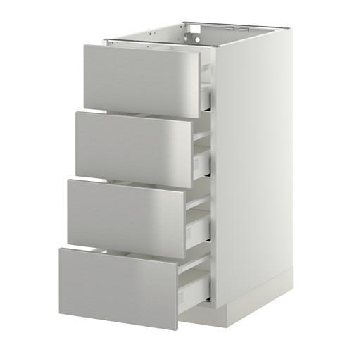 МЕТОД / МАКСИМЕРА Напольн шкаф 4 фронт панели/4 ящика - 40x60 см, Гревста нержавеющ сталь, белый