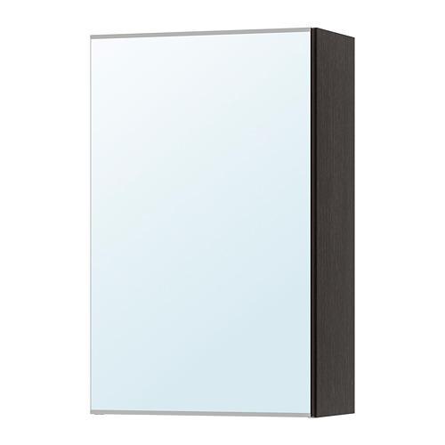ЛИЛЛОНГЕН Зеркальный шкаф с 1 дверцей - черно-коричневый