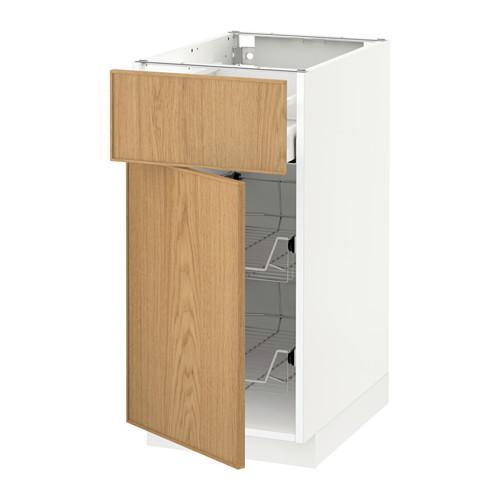 МЕТОД / МАКСИМЕРА Напольн шкаф с пров корз/ящ/дверью - 40x60 см, Экестад дуб, белый