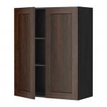 МЕТОД Навесной шкаф с полками/2дверцы - 80x100 см, Эдсерум под дерево коричневый, под дерево черный