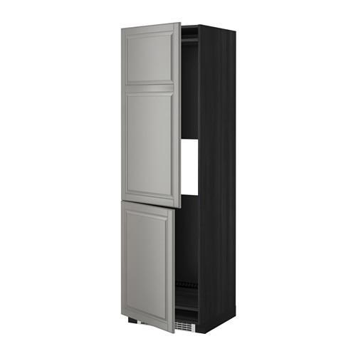 МЕТОД Выс шкаф д/холодильн или морозильн - 60x60x200 см, Будбин серый, под дерево черный