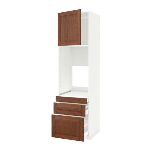МЕТОД / МАКСИМЕРА Выс шкаф д/двойн духовки/3ящ/дверца - белый, Филипстад коричневый, 60x60x220 см
