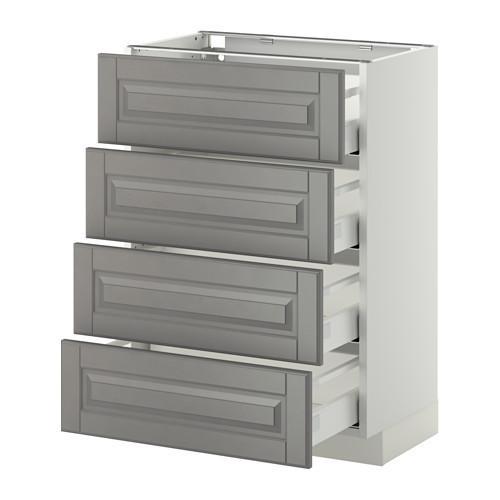 МЕТОД / МАКСИМЕРА Напольн шкаф 4 фронт панели/4 ящика - 60x37 см, Будбин серый, белый